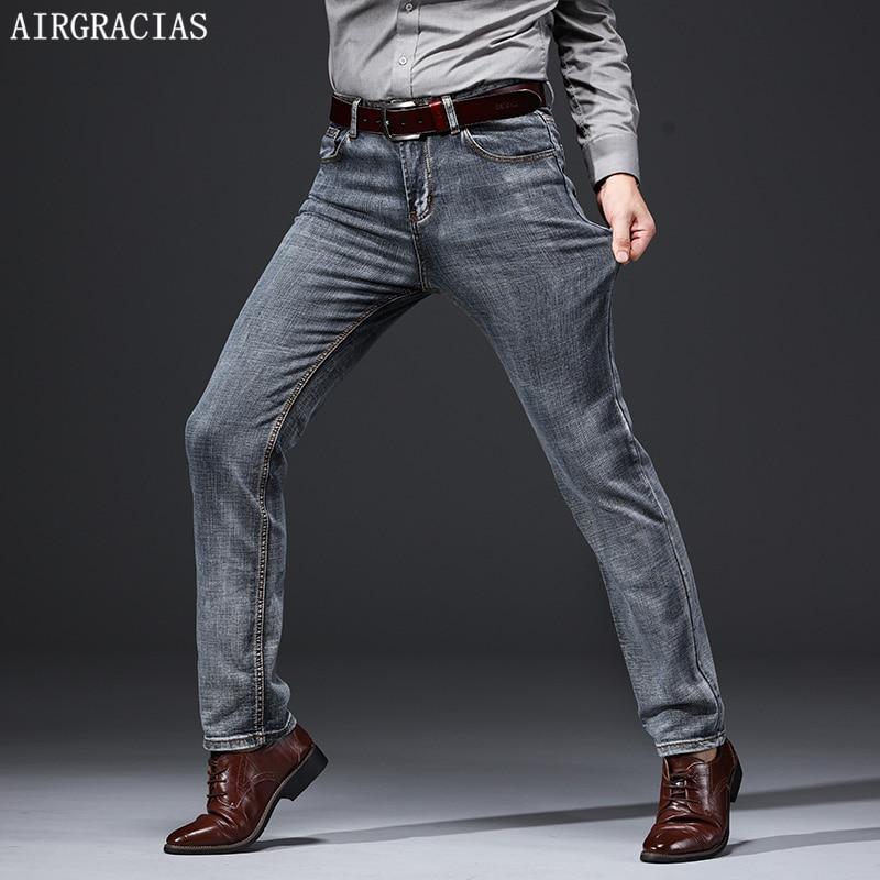 AIRGRACIAS Brand Jeans Retro Nostalgia Straight Denim Jeans Men Plus Size 28-40 Casual Men Long Trousers
