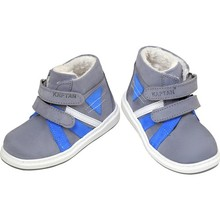 Captain Junior Men 'S Leather Baby Shoes Boots Gray Blue White Winter Snow Boat Antibacterial Orthopedic Soft Light Flexible