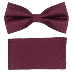 Men's bow tie, pocket square (microfiber, crimson) 53729