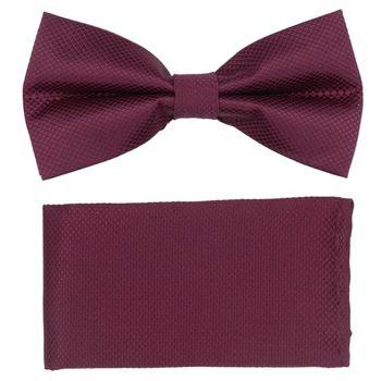 Men's bow tie, pocket square (microfiber, crimson) 53729