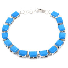 10x8mm Charming 10x8mm Blue Turquoise Gift For Ladies Silver Bracelet 8.5-9.5inch(China)