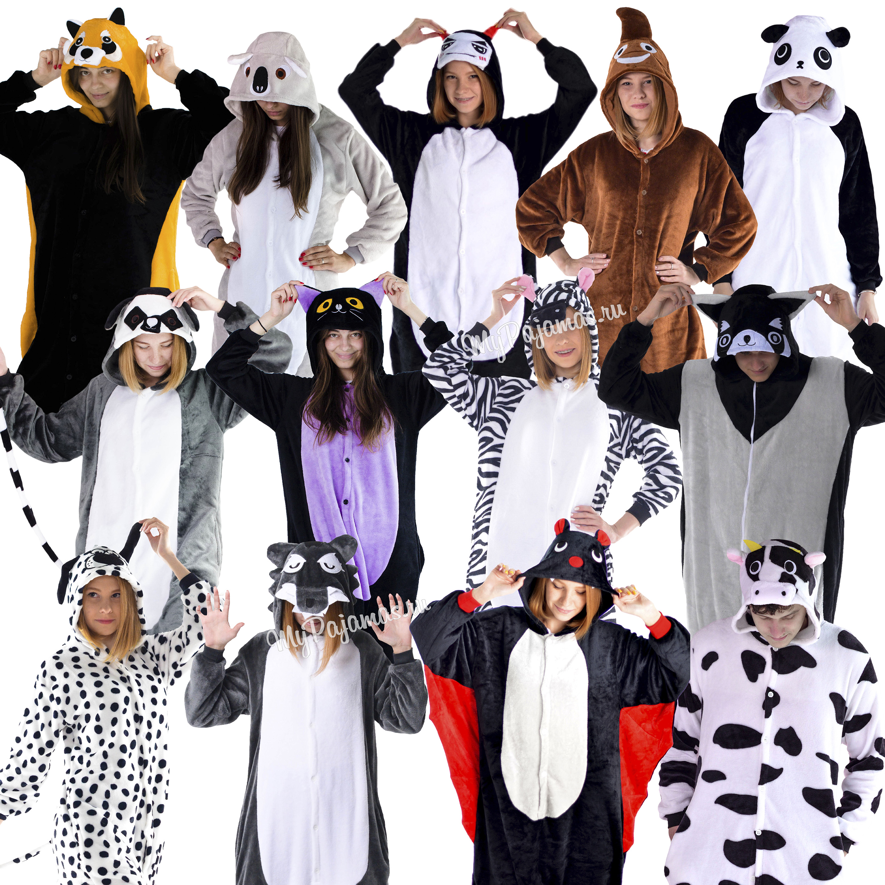 Pajamas Kigurumi Penguin, Bat, Koala, Raccoon, Lemur, Piece Of Shit, Wolf, Cow, Sleepwear Women And Men.