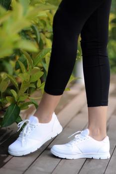 Różowe Potin damskie białe buty A1971-20 tanie i dobre opinie Pembe Potin Oksfordzie TR (pochodzenie) Sztuczna skóra Gumką Pasuje prawda na wymiar weź swój normalny rozmiar Na co dzień