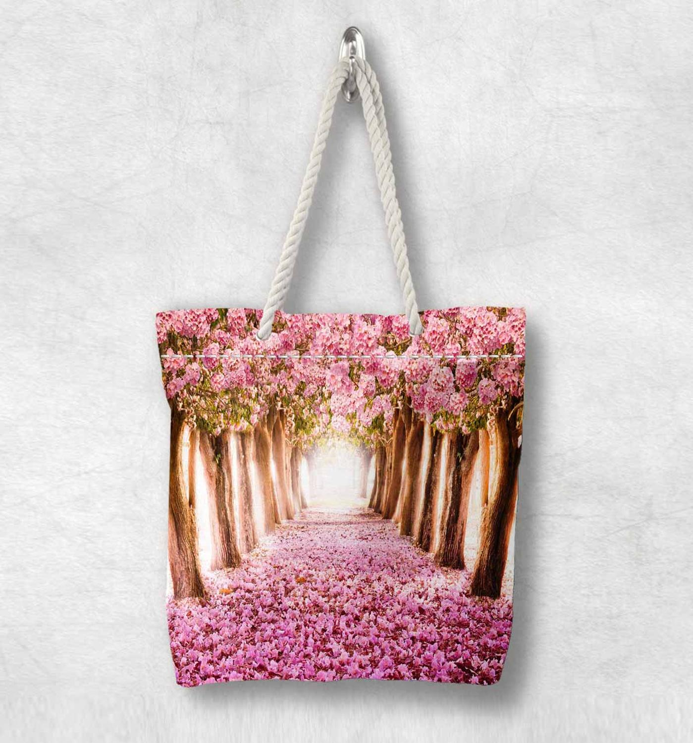 Else Pink Trees Leaves Floral Love Way New Fashion White Rope Handle Canvas Bag Cotton Canvas Zippered Tote Bag Shoulder Bag