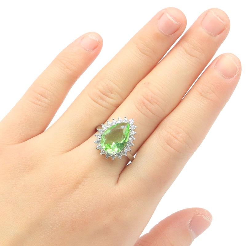 20x16mm Romantic Pear Shape Created Green Tsavorite Garnet White Cubic Zirconia Gift For Ladies Silver Rings