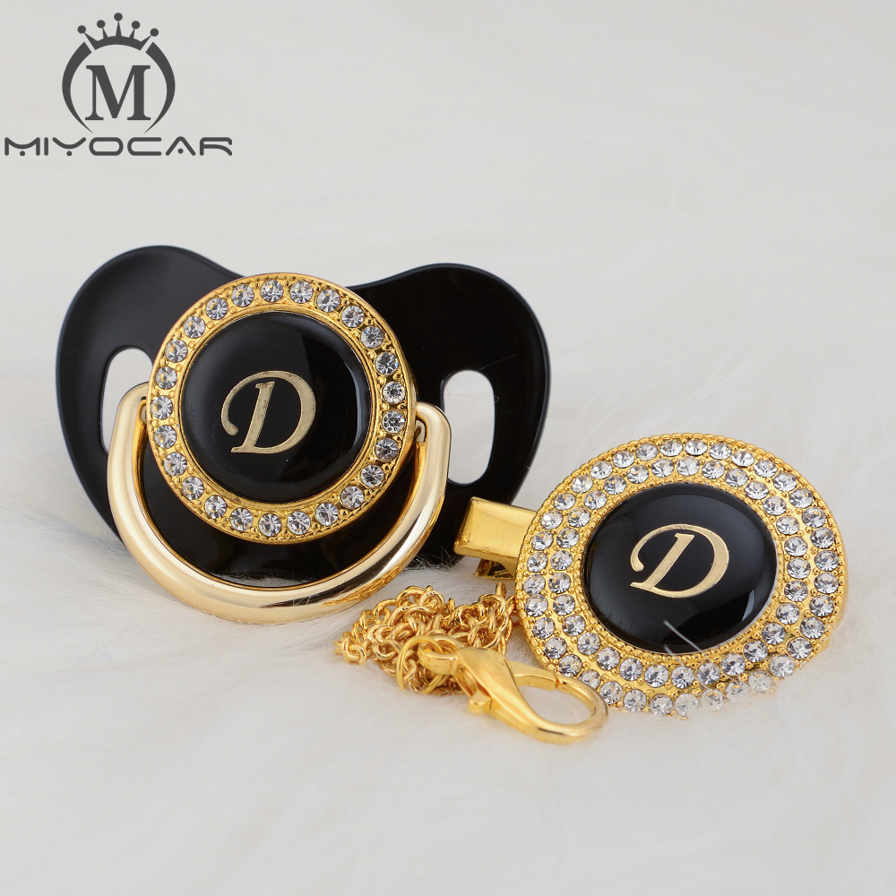 MIYOCAR Unique Design Name Initials Letter D Lovely Bling Pacifier And Pacifier Clip Set BPA Free Dummy Bling Unique Design LD