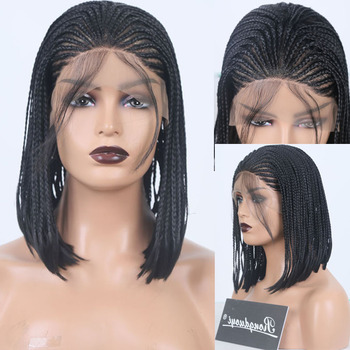 цена на RONGDUOYI Short Bob Braids Hair Wigs for Women Cosplay Wig Synthetic Lace Front Wigs Black FiberHair Braided Front Lace Wig