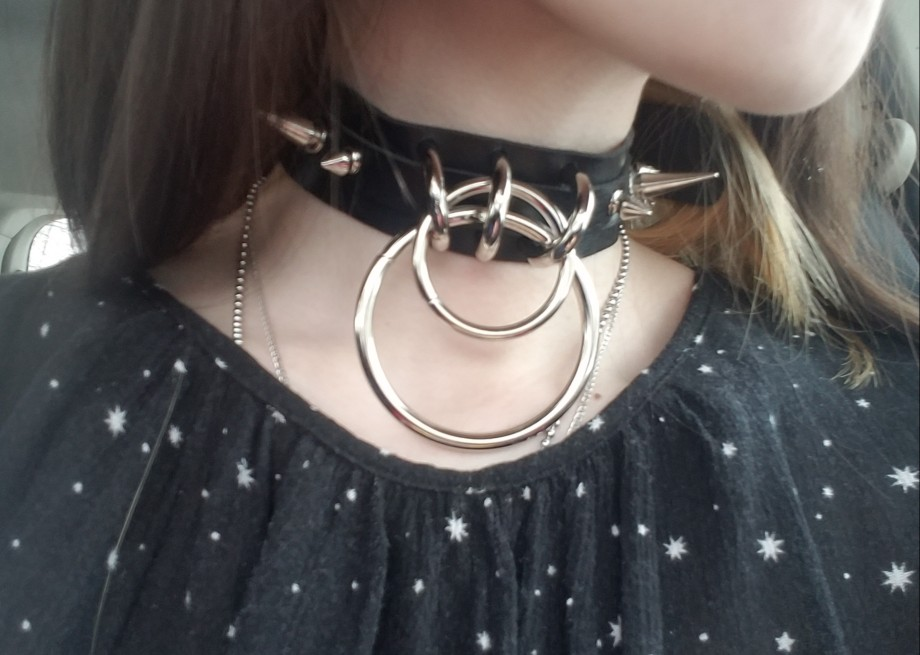 Punk Metal Collar with Spike and Rings photo review