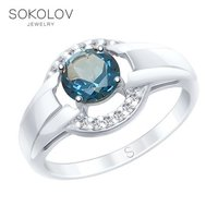 SOKOLOV ring made of silver with a blue topaz and fianitami fashion jewelry 925 women's male