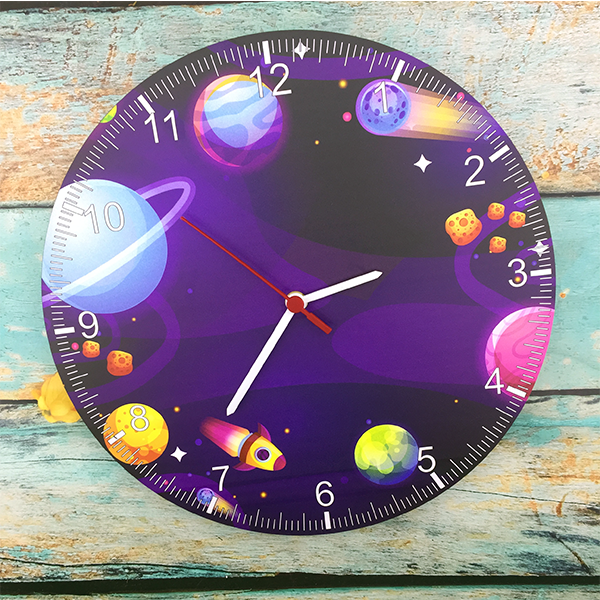Space Theme Kids Wall Clock. Unique Space Wall Clock. Wall Clock  Space Effect Wood Wall Clcok