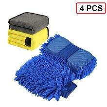 Guante de microfibra de chenilla para lavado de coche, esponja Extra grande de secado suave, Herramientas de limpieza para motocicleta, 4 Uds.