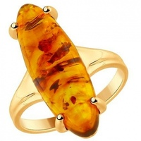Sokolov ring with 1 Amber Silver with gilding