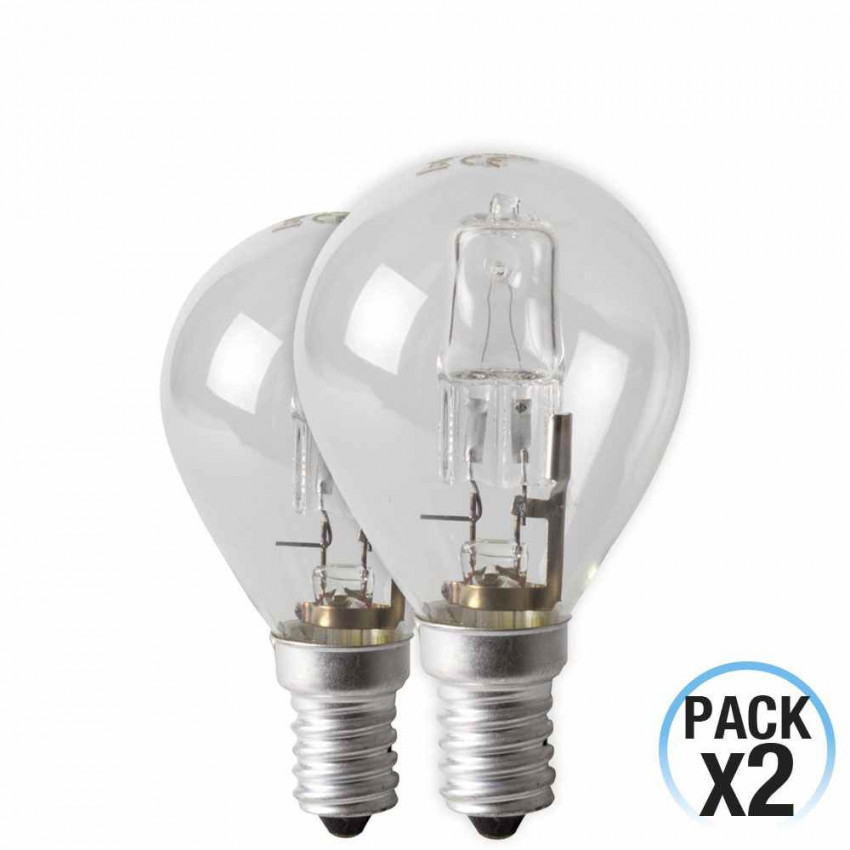 Pack 2 Bulbs Eco-Halógenas Spherical E14 28W