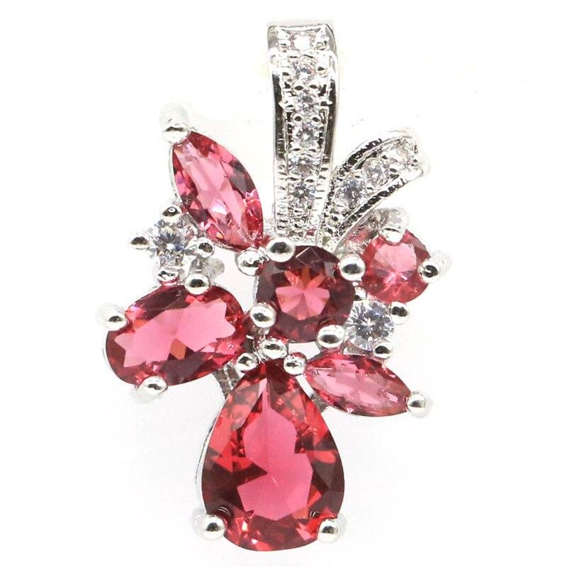 33x25mm Charming Stern Form Erstellt Rosa Kunzit Natürliche CZ frau Silber Anhänger
