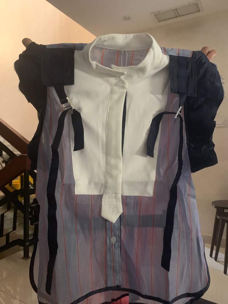 Striped Hit Color Patchwork Women Blouse Stand Collar Sleeveless Ruffles Tunic Shirt Female Fashion Summer photo review
