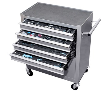 Tool cart workshop mobile with wheels 5 drawers 81 tools included