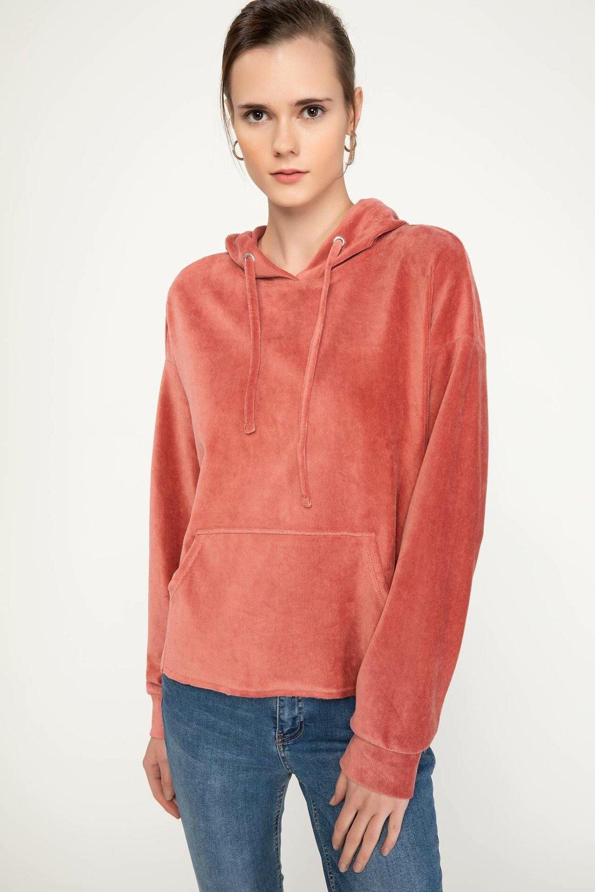 DeFacto Women Casual Pullovers Hoodies Solid Cotton Pullovers Tops Simple Female Pullovers Tops New-J9890AZ18WN-J9890AZ18WN
