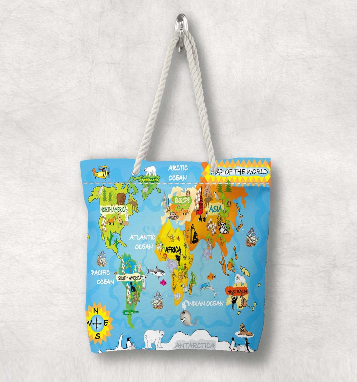 Else Kids Funny Animals Earth World Map New Fashion White Rope Handle Canvas Bag  Cartoon Print Zippered Tote Bag Shoulder Bag