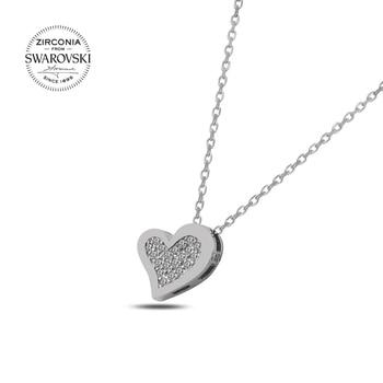 Silver 925 Sterling Swarovski Zirconia Cubic Zirconia Heart Necklace