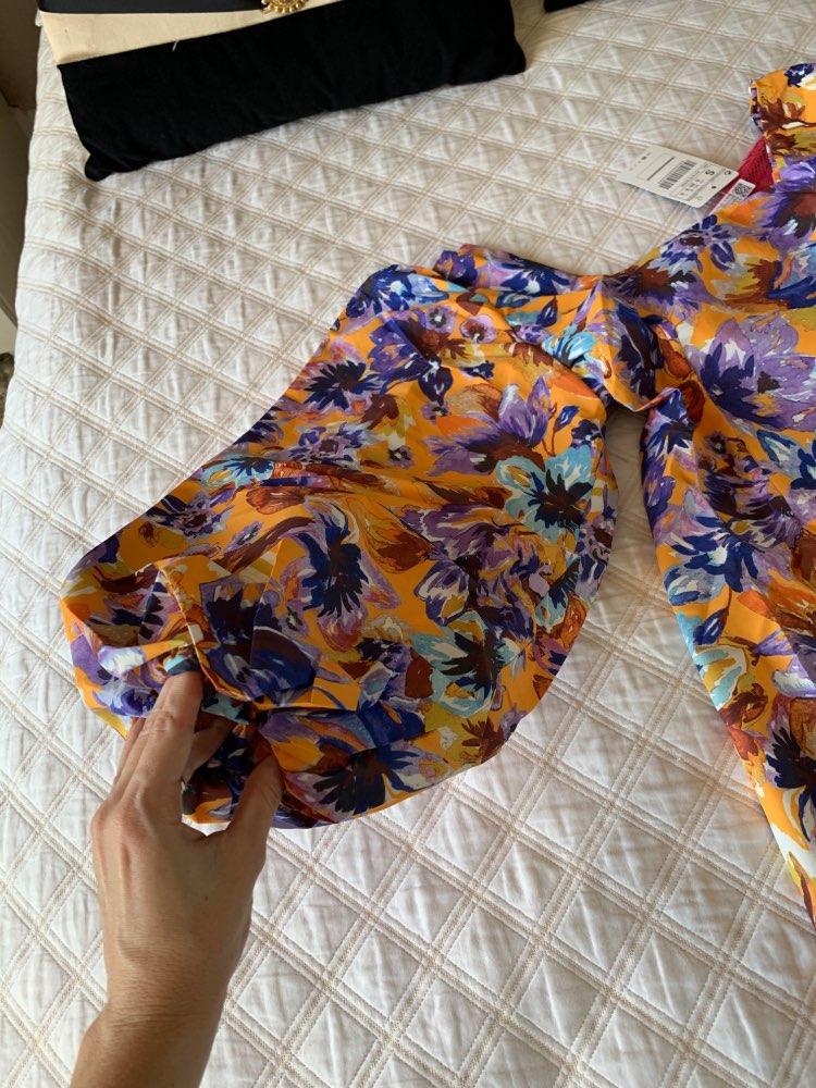 Stylish Chic Floral Print Loose Sleeve Dress Za Vintage Elegant Women Square Collar Mini Dresses photo review