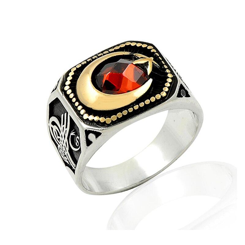 Nouveau 925 argent lune et étoile imprimé Tribal drapeau anglais anneaux pour hommes Original offre spéciale anneaux Antique argent Ottoman hommes anneau