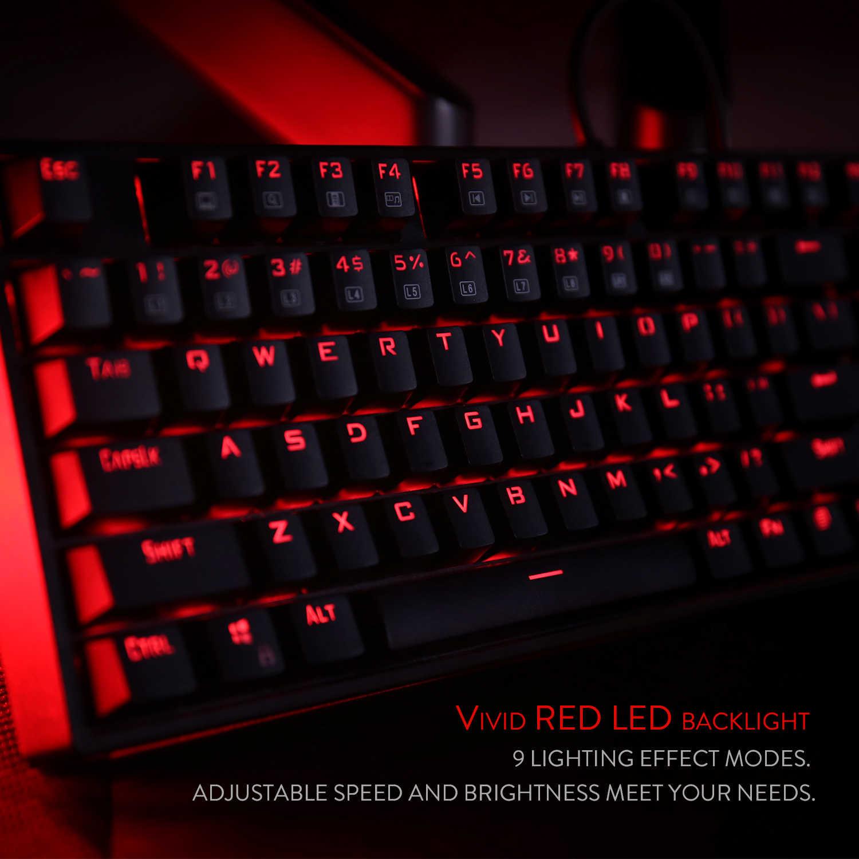 Redragon K582-RED LED لوحة مفاتيح الألعاب الميكانيكية ، 104 تخطيط قياسي N-مفتاح التمديد لوحة المفاتيح الميكانيكية مع مفاتيح حمراء هادئة