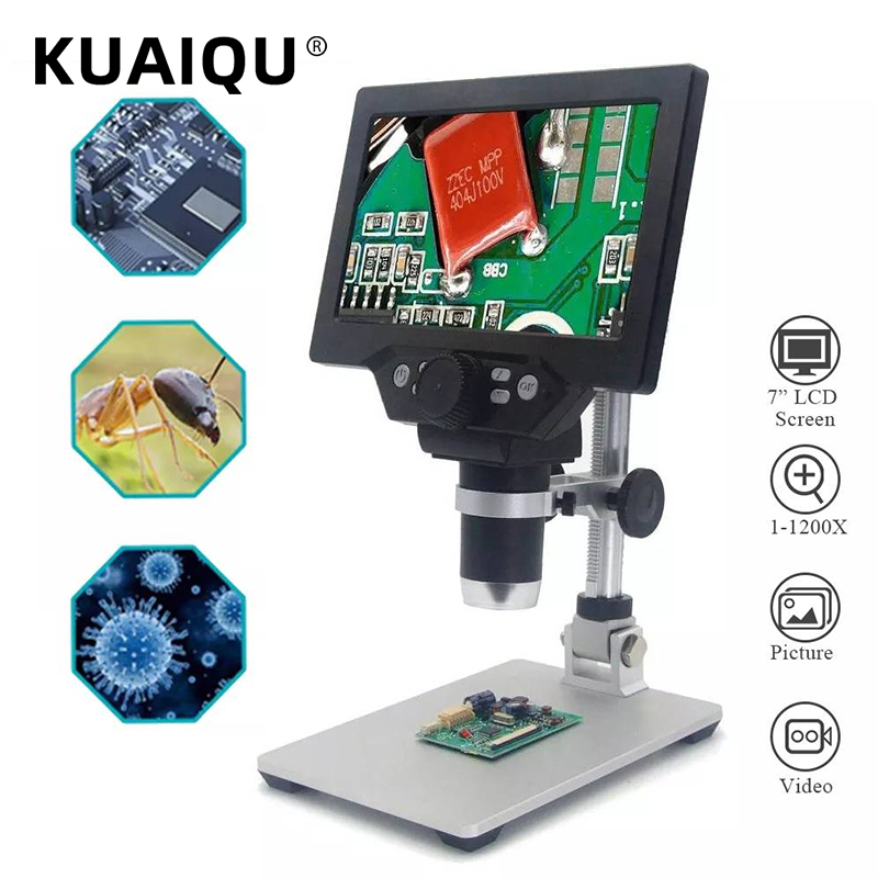 KUAIQU 1200X 7 '' LCD Screen Digital Video Electronic Microscope HD 720P 8 LED Lights Continuous Amplification Magnifier Solder