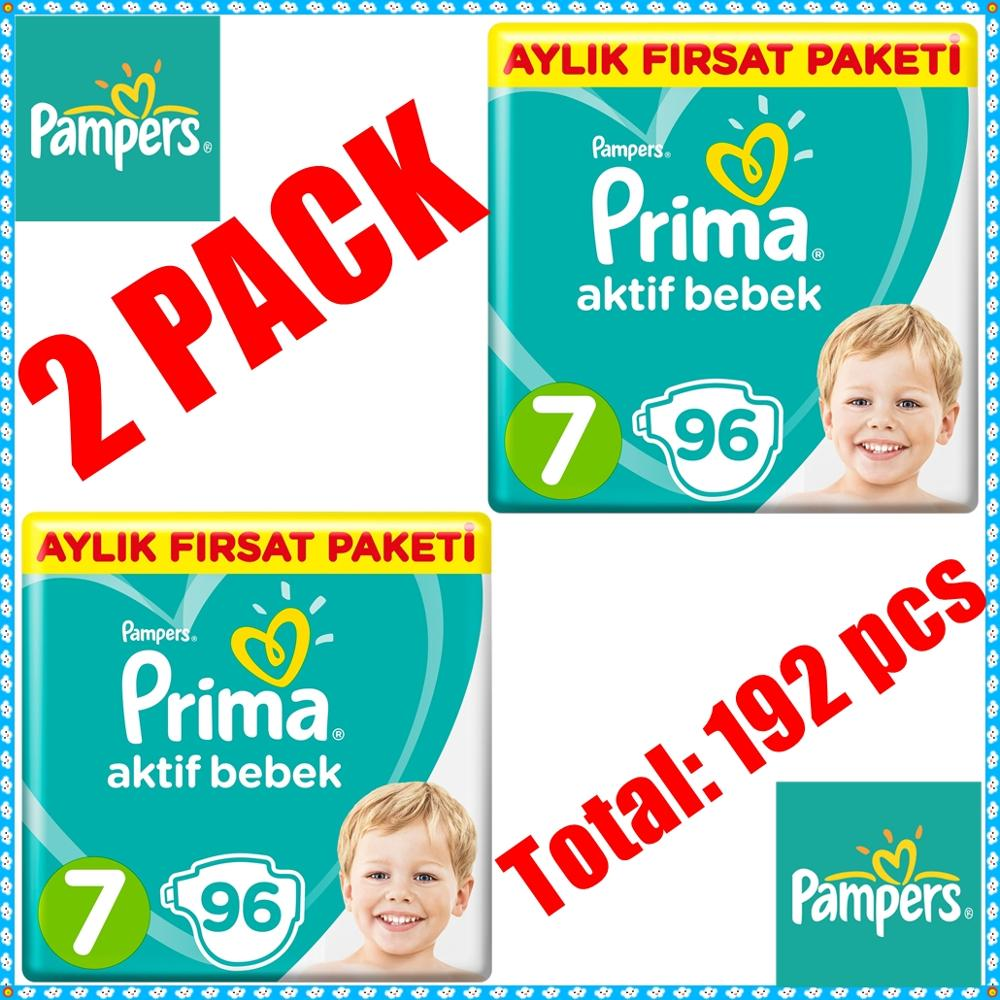 No:7 PAMPERS-PRIMA 15+kg XXL Baby Diaper Nappy Toilet Training Diapering Disposable Swaddlers 192 Pcs Hypoallergenic Diapers