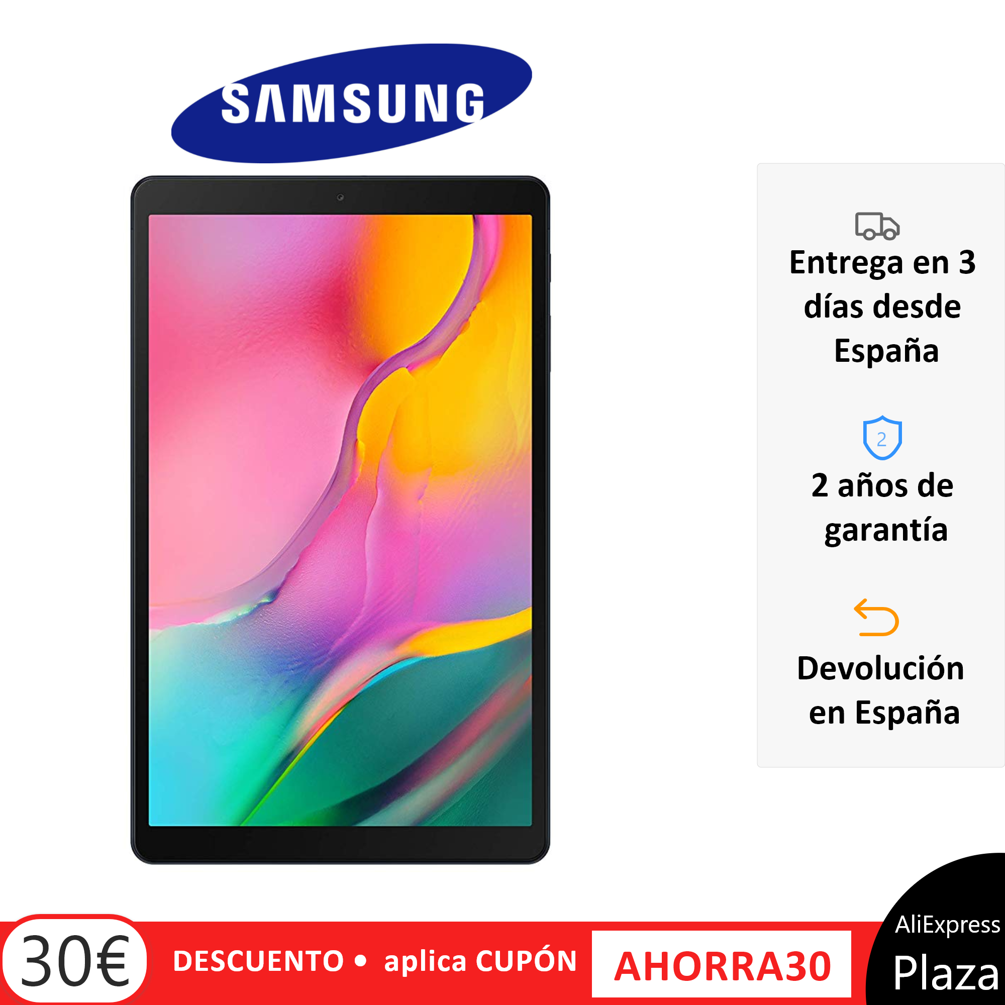Tablet Samsung Galaxy Tab A, Modelo T510 (2019), Color Negro (Black), Banda WiFi, 32 GB de Memoria Interna, Pantalla panorámica