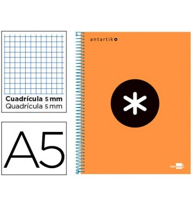 SPIRAL NOTEBOOK LEADERPAPER A5 MICRO ANTARTIK LINED TOP 120H 100 GR CUADRO5MM 5 BANDS 6 DRILLS ORANGE FLULU
