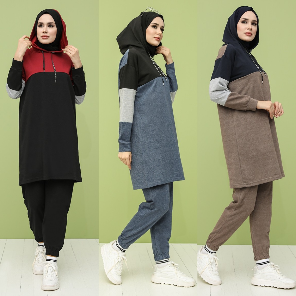Two Piece Sets Women Hooded Tracksuit Long Hoodie Top + Pants Jogging Sporty Matching Suits 2021 Muslim Sportswear Casual Female