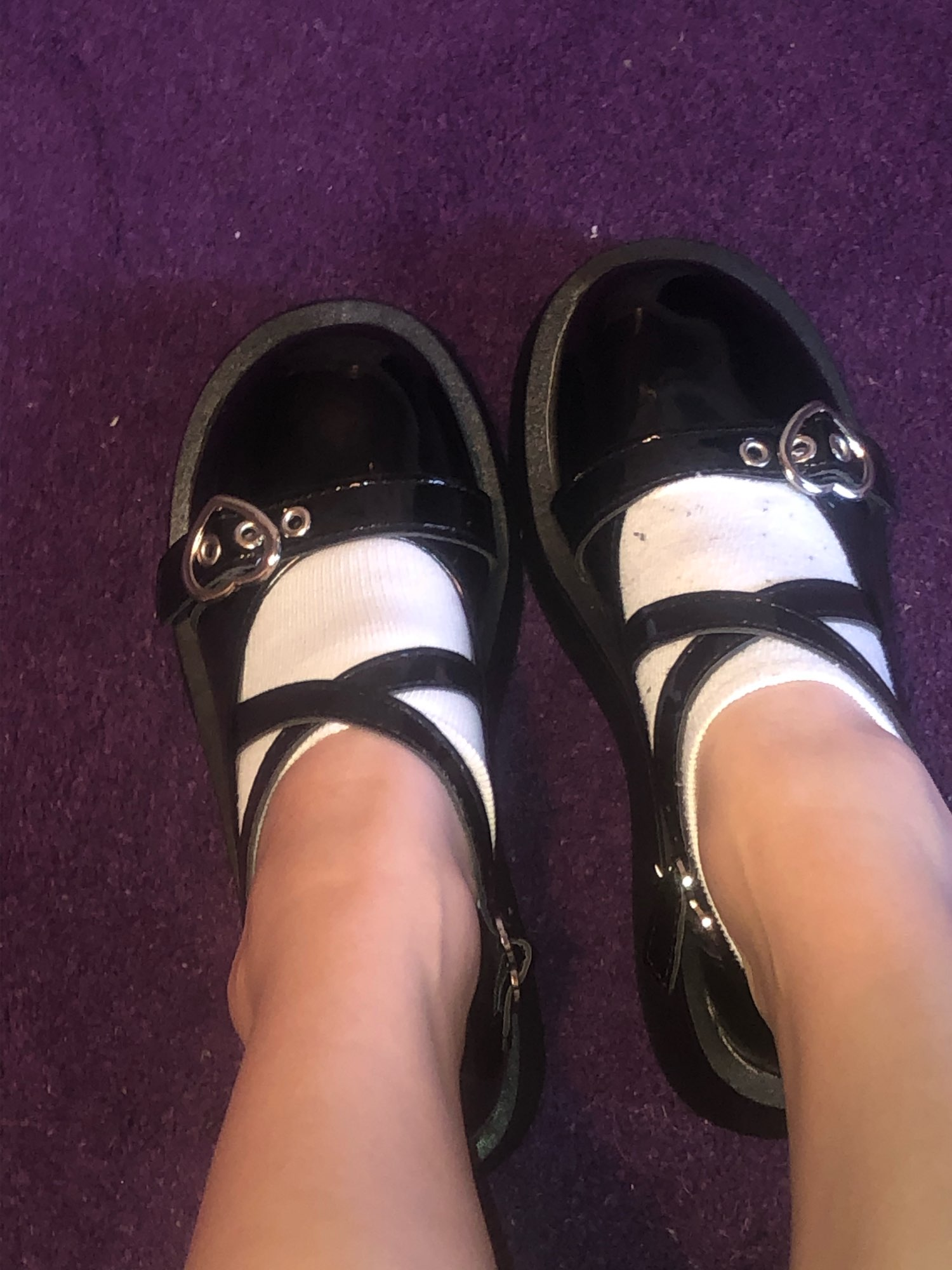 Lolita shoes with platform round head and heart buckles photo review