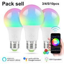Распродажа в упаковке RGBW умный wifi Светодиодный светильник 10/7 Вт E27 B22 E14 умный дом Bluetooth лампа цвет совместима с Alexa google Home
