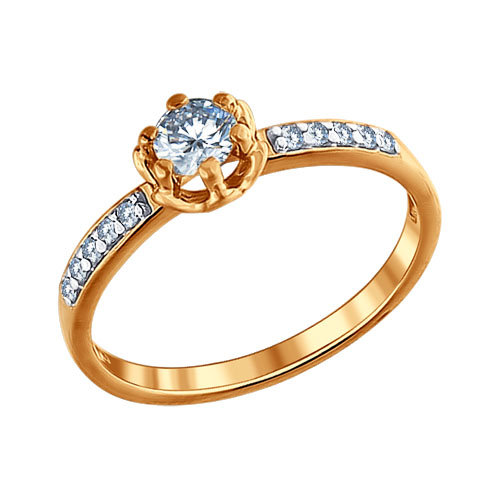 Engagement Ring Of SOKOLOV Gilded With Silver Fianitami