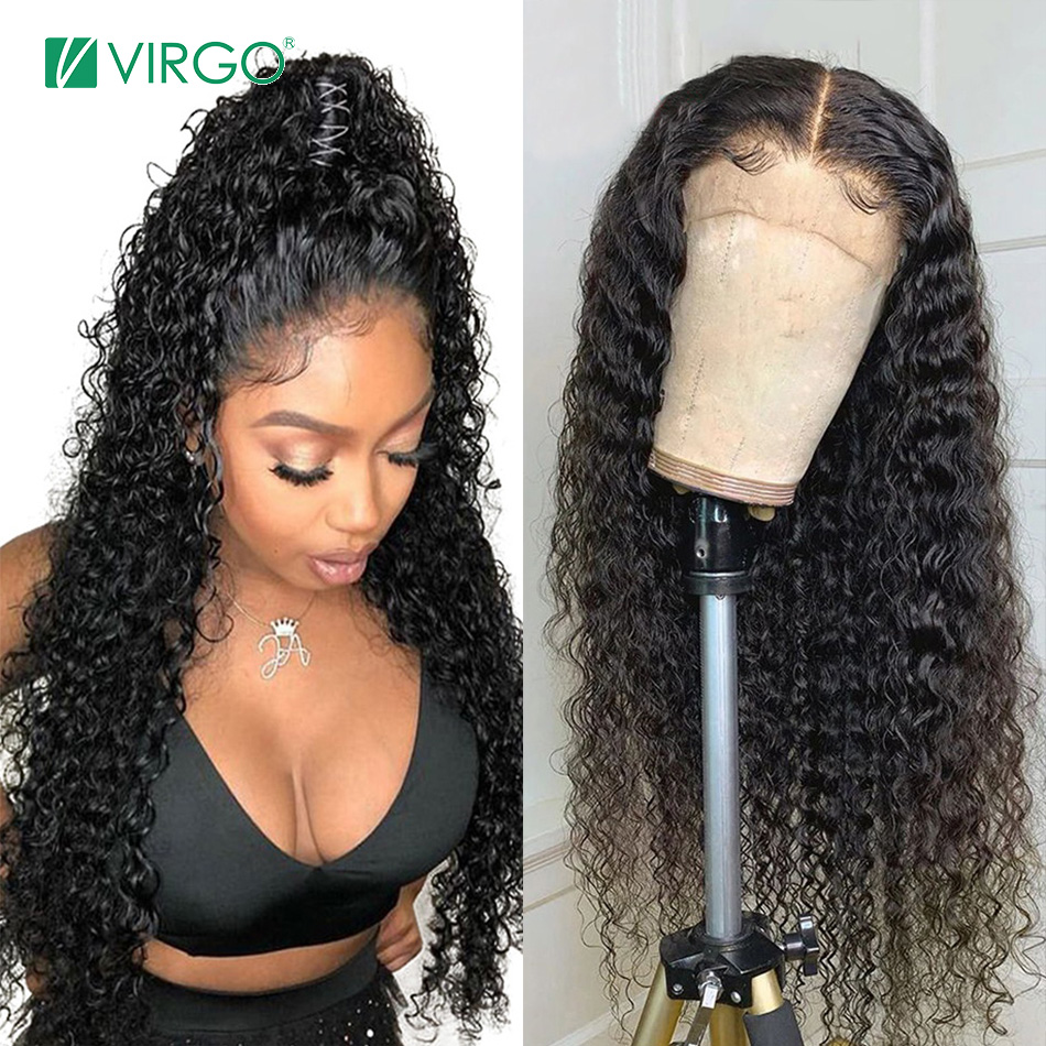 Virgo Hiar Wigs 360 Lace Frontal Wig Pre Plucked With Baby Hair Peruvian Curly Human Hair Wigs For Black Women Remy 360 Circle