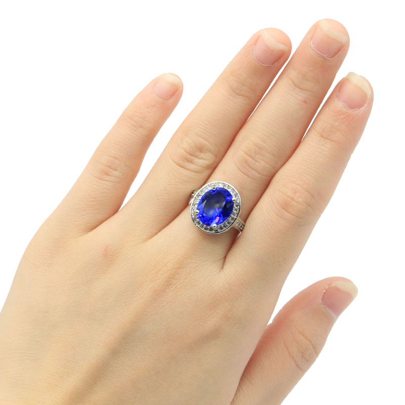 16x15mm Beautiful Oval Shape Created Deep Blue Sapphire White CZ Silver Rings