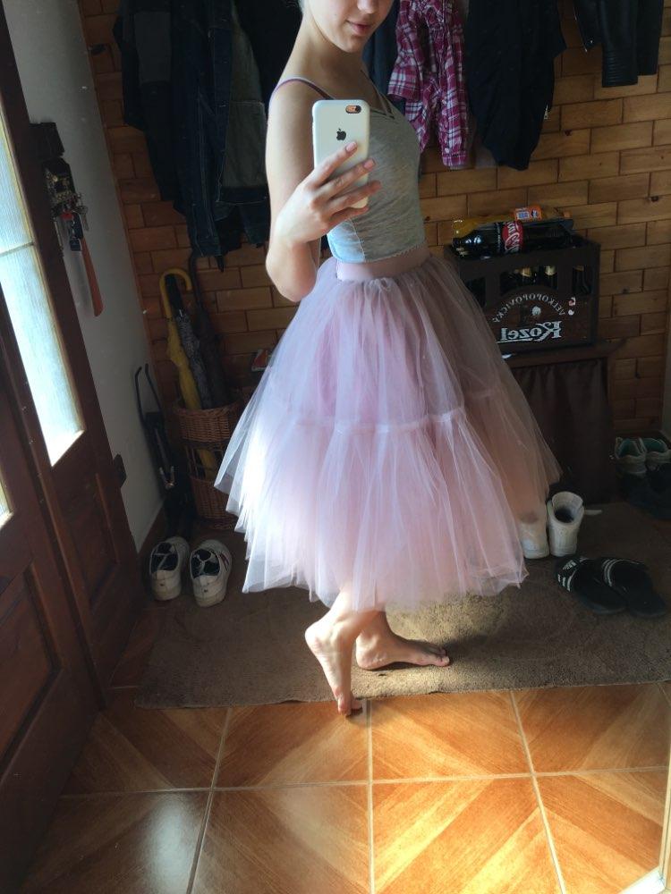 5 Layers 60Cm Tutu Tulle Skirt Vintage Midi Pleated Skirts Womens Lolita Petticoat Bridesmaid Wedding Faldas Mujer Saias Jupe photo review