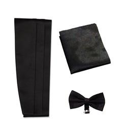Varetta набор мужской ремень Набор для команды Мужской пояс и галстук-бабочка платок и шалость один размер черный цвет