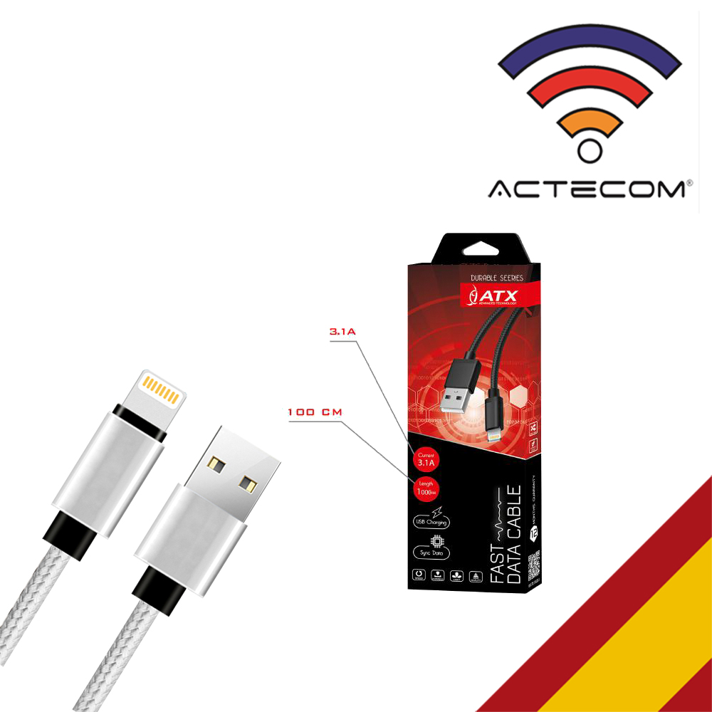 ACTECOM Cable Compatible 8 Pin 3.1A Proteccion DE Nylon USB Compatible IPhone IPad Carga Y Datos