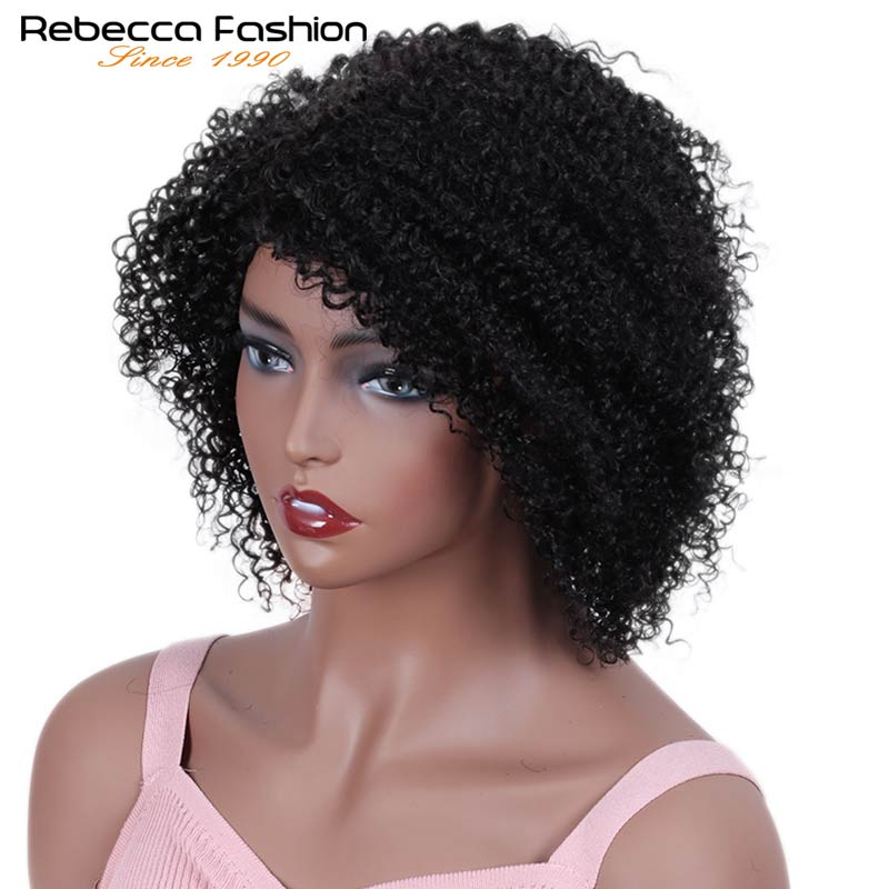 Rebecca Short Bob Wigs Afro Kinky Curly Human Hair Machine Wig Pre Plucked Bleached Knots Remy Brazilian Human Wig Nature Black