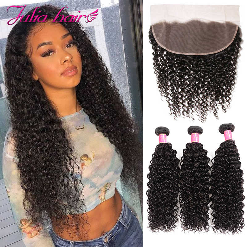 Malaysian Curly Lace Frontal with 3 Bundles Natural Human Hair Bundles with 13*4 Lace Frontal Pre Plucked Ali Julia Remy Hair