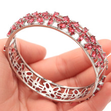 74x14mm Luxury 27.6g Pink Raspberry Rhodolite Garnet Gift For Woman's Silver Bangle Bracelet 7.5