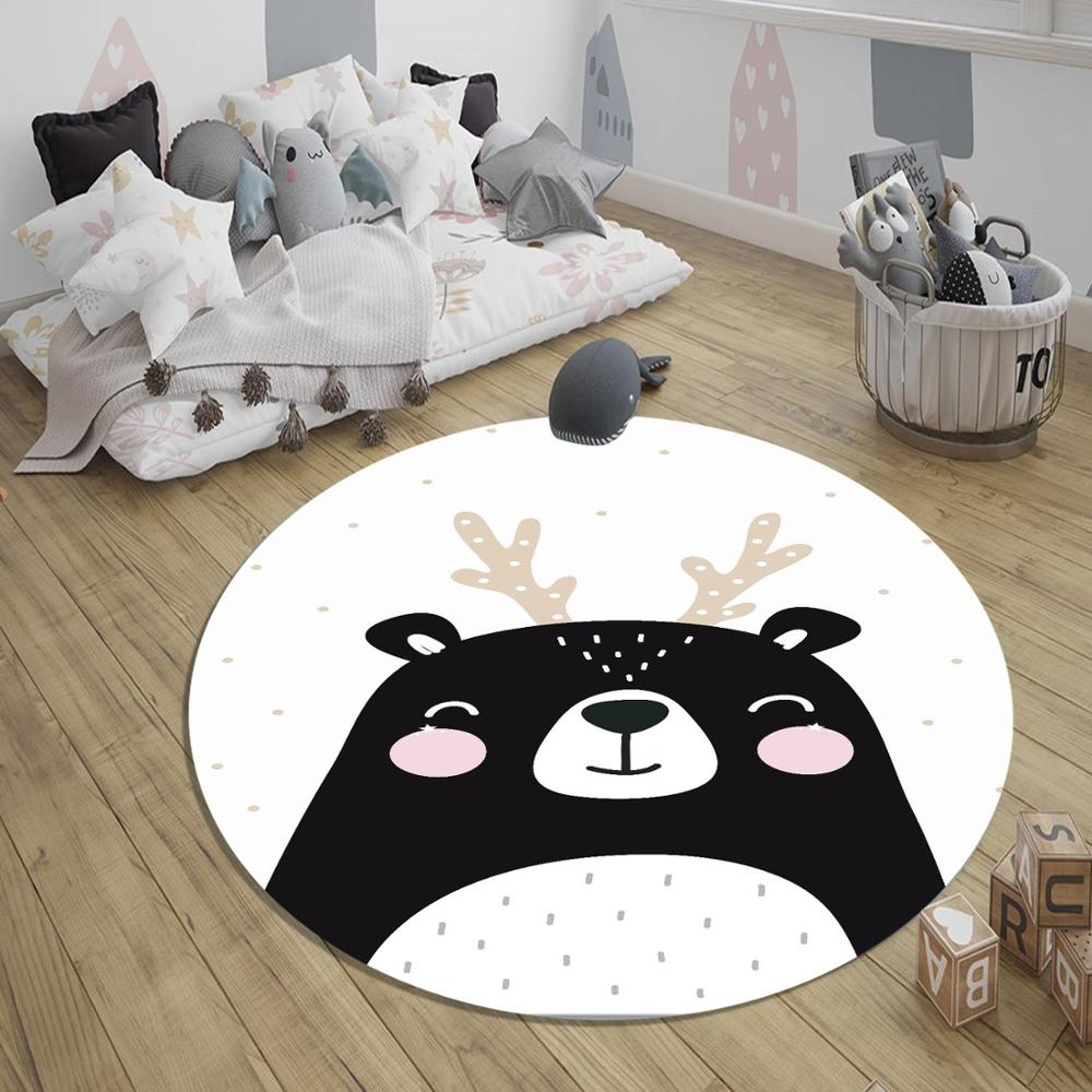 Else Black White Cute Deer Animal Nordec 3d Pattern Print Anti Slip Back Round Carpets Area Rug For Kids Baby Children Room