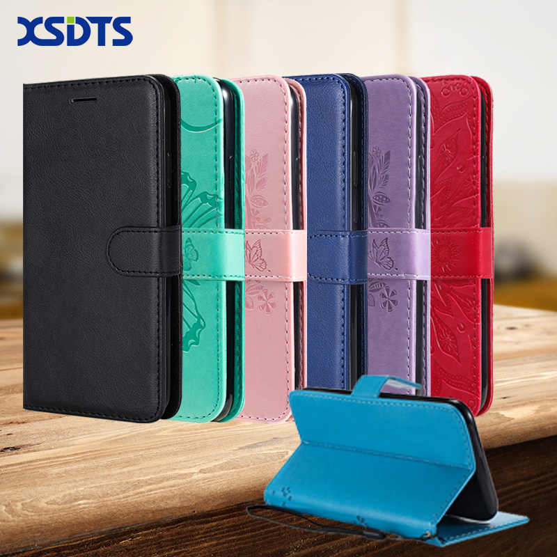 XSDTS Luxury Leather Wallet Case For Huawei Y5 Y6 Prime Y7 Pro 2018 Y9 2019 Card Stand Flip Case Phone Cover Coque