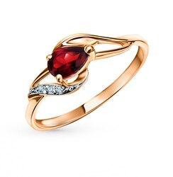 Золотое кольцо с гранатом и бриллиантами SUNLIGHT проба 585