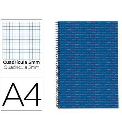 SPIRAL NOTEBOOK LEADERPAPER A4 MICRO MULTILIDER LINED TOP 140H 80GSM TABLE 5MM 5 BANDS 4 HOLES BLUE