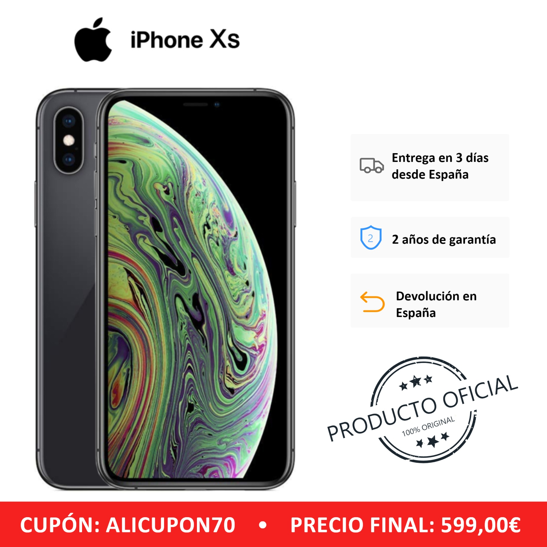 Apple iPhone Xs, Color Gris (Grey), Versión EU. Banda 4G / LTE / Wi-Fi, 64 GB de Memoria interna, 4 GB de RAM, Pantalla