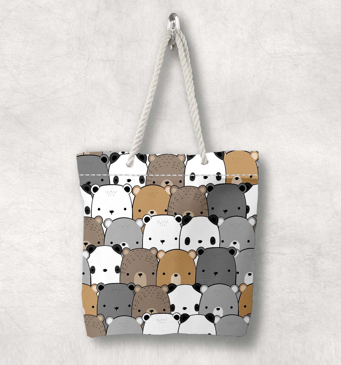 Else Gray Brown White Cute Bears New Fashion White Rope Handle Canvas Bag Cotton Canvas Zippered Tote Bag Shoulder Bag