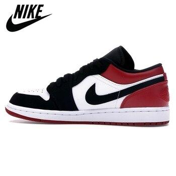 Фото - Authentic Original Nike Air Jordan Retro 1 Low Black Toe Galaxy Men Shoes Women Basketball Sneakers кроссовки air jordan 11 retro low