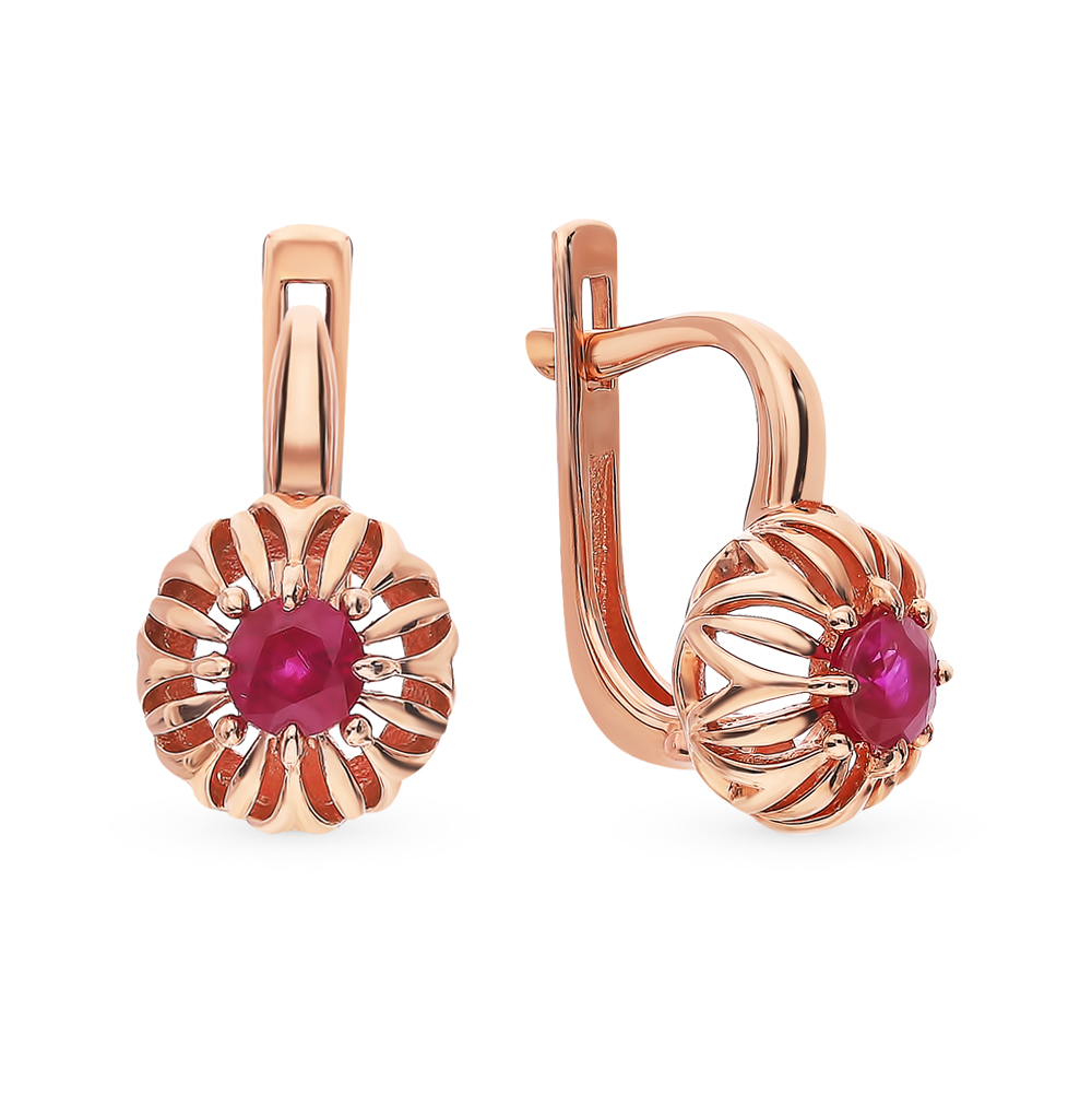 Gold Earrings With Rubies Sunlight Sample 585
